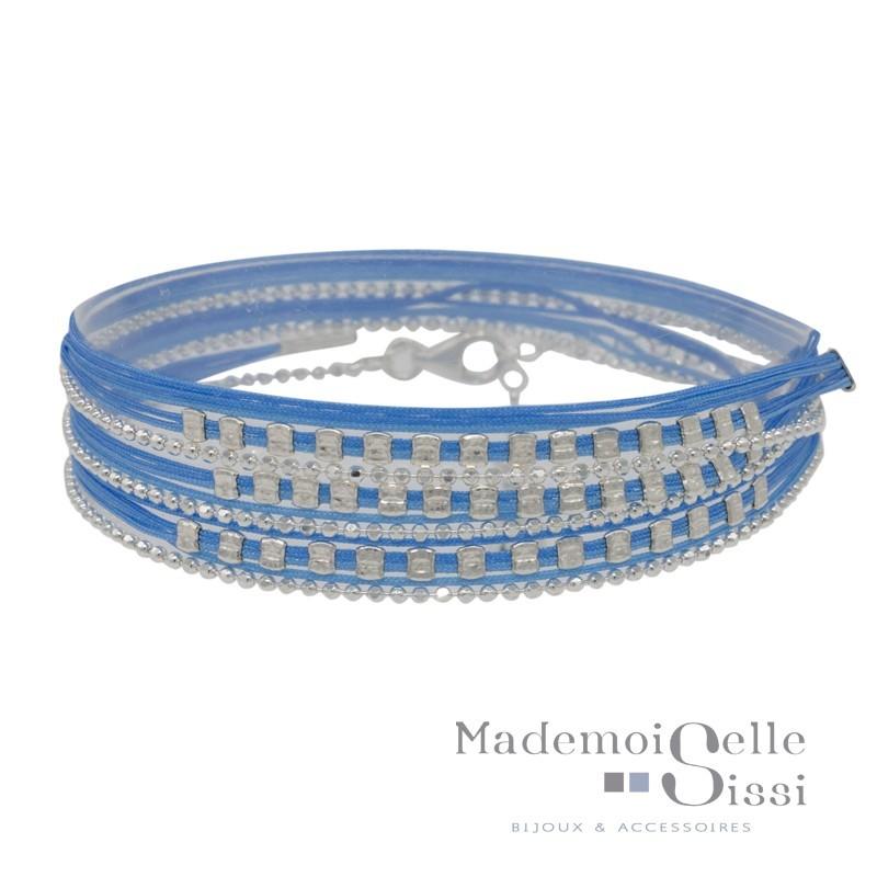 Bracelet Doriane - bracelet multi-tours chaîne argent - Cordons bleu & Perles carrées