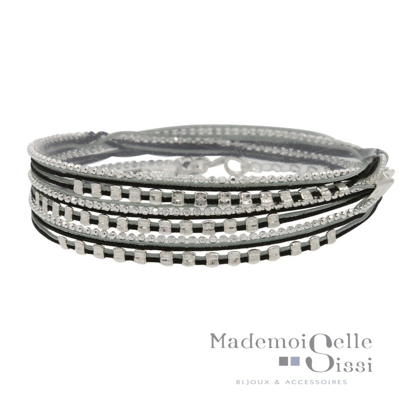 Bracelet Doriane - bracelet multi-tours chaîne argent - Cordons beige et gris & Perles carrées