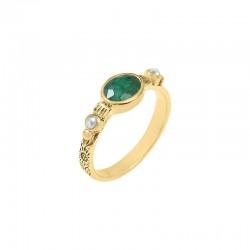 Bague Canyon - Bague fine ethnique en laiton doré Quartz vert & perles blanches