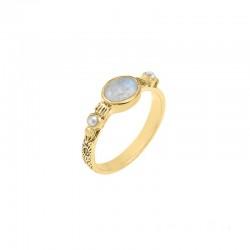 Bague Canyon - Bague fine ethnique en laiton doré Pierre de Lune & perles blanches