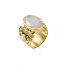 Bague large ethnique laiton doré Pierre de Lune & Perles blanches
