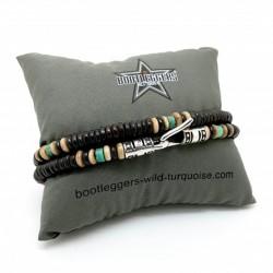 Bracelet homme RED WOOD - Perles Bones marron beige & turquoise