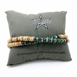 Bracelet multi-tours homme WILD HORSE - Perles Heishi beige & turquoises