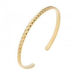 Bracelet Demi-jonc en laiton doré - Bangle Godrons
