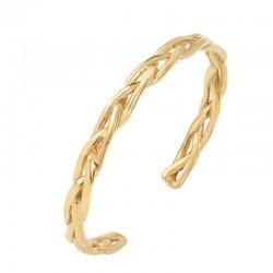 Bracelet Demi-jonc en laiton doré - Bangle Tressé