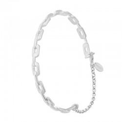 Bracelet Jonc gourmette en argent stylisé petits rectangles