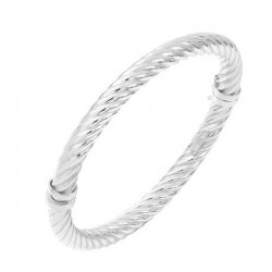 Bracelet Jonc ovale en argent stylisé rond torsadé serré