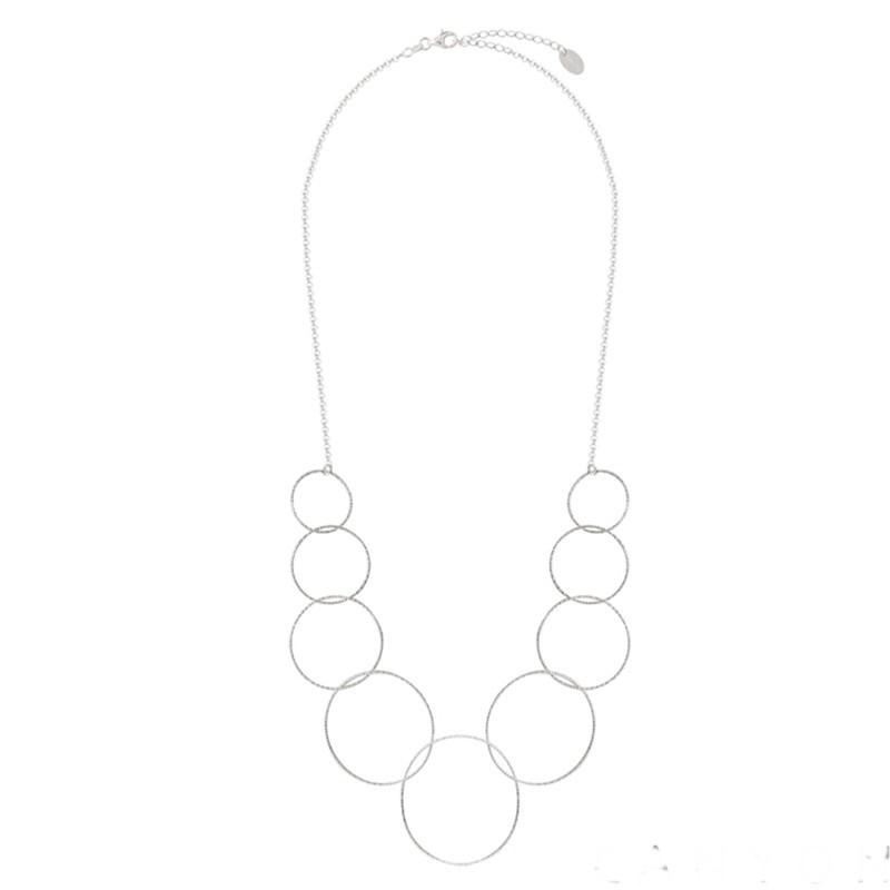 Collier en Argent - Chaîne fine & Plastron d'Anneaux diamantés