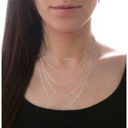 Collier court multi-rangs en Argent - Chaînes fines stylisées perles ovales