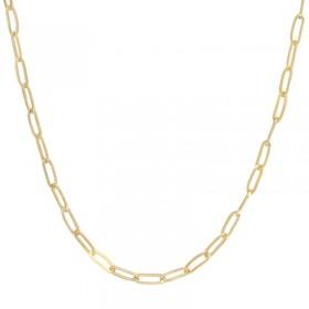 Collier court chaîne en laiton doré - Maillons forçats allongés