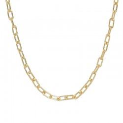 Collier court chaîne forçat - Maillons ovales en laiton doré