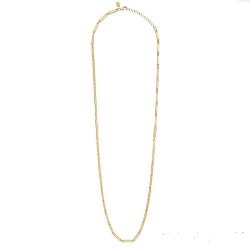 Collier long chaîne en laiton doré - Maillons designs
