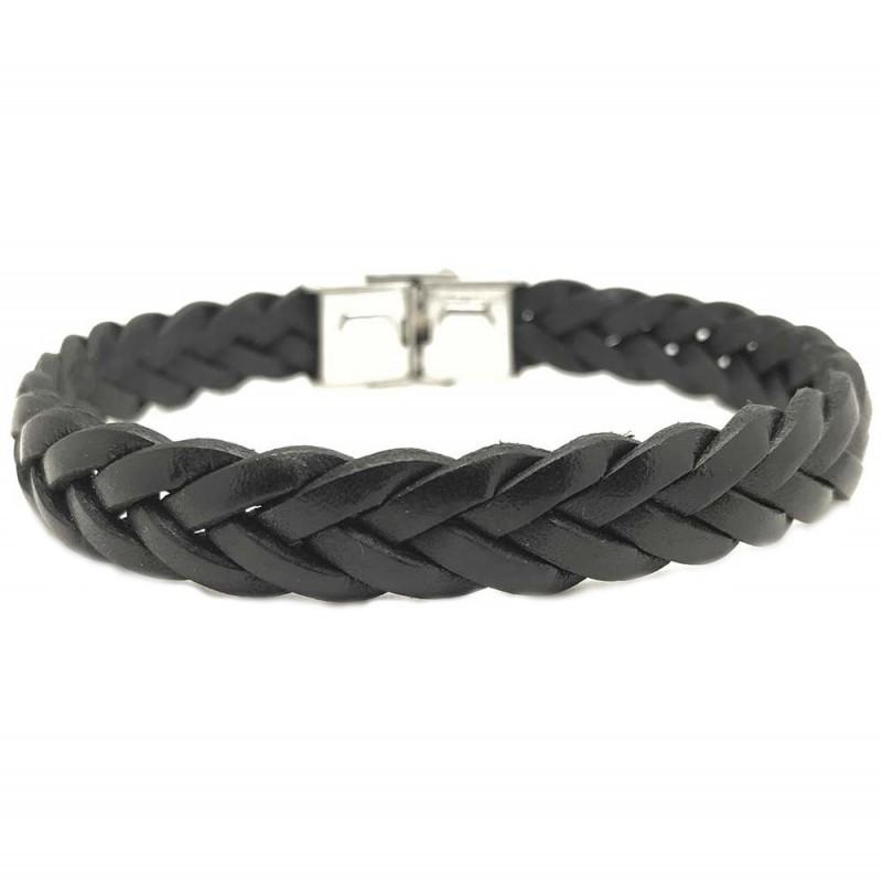 Bracelet jonc homme - Cuir tressé brut noir 10 mm & boucle métal