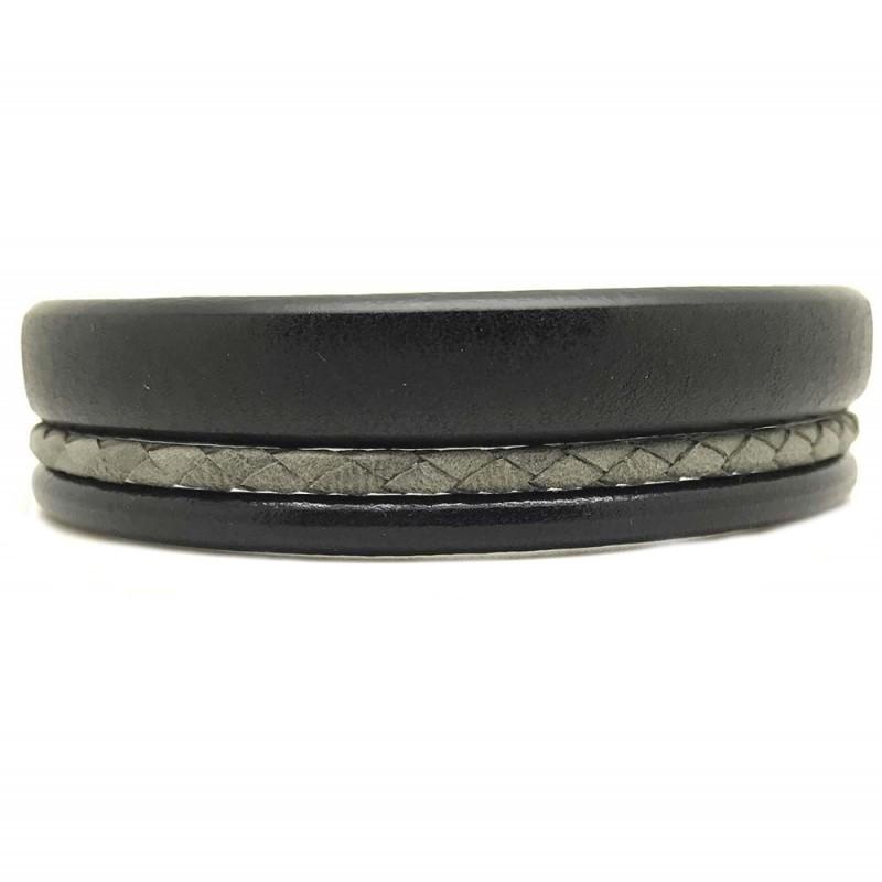 Bracelet jonc  manchette homme - Trois liens de cuir noir gris & boucle métal - Loop and Co