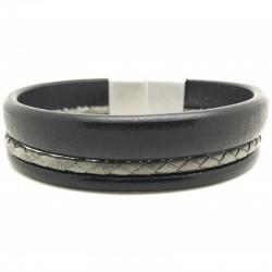 Bracelet jonc  manchette homme - Trois liens de cuir noir gris & boucle métal