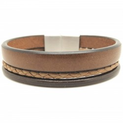 Bracelet jonc large homme LOOP AND CO - Multi-rangs cuir marron & boucle métal