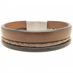 Bracelet jonc large homme LOOP AND CO - Multi-rangs cuir marron & boucle métal