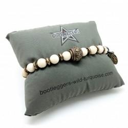 Bracelet homme élastiqué SONORA BEIGE - River Stone & Perle gravée étoile
