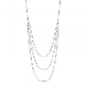 Collier multi-rangs en Argent - Trio de chaînettes fines maillons ovales