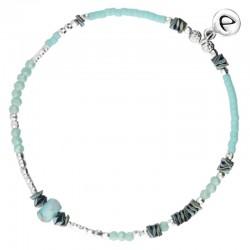 Bracelet élastique BASIC TURQUOISE Perles argent & Hématites grises