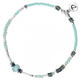 Bracelet Doriane - bracelet élastique BASIC TURQUOISE Perles argent & Hématites grises