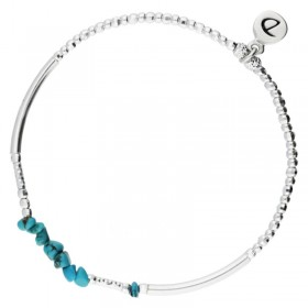 Bracelet élastiqué SILVER - Tubes & Perles turquoise