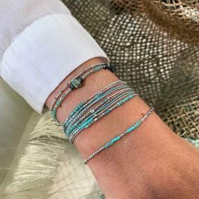 Bracelet élastiqué Silver - Tubes & Chips hématite turquoise