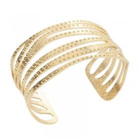 Bracelet Manchette Lune Doré - Demi-Jonc Ajouré & Pointé