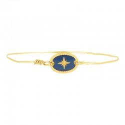 Bracelet Jonc Doré - Jonc fin & Médaille ovale Rose des Vents