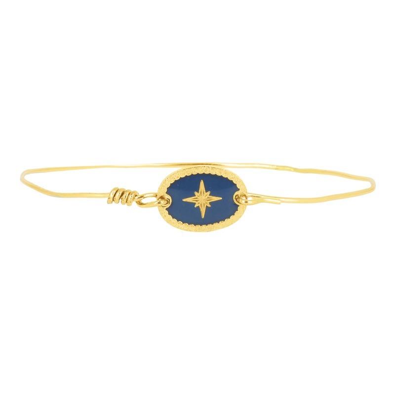 Lovely Day Bijoux - Bracelet Jonc Doré - Jonc fin & Médaille ovale Rose des Vents