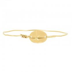 Bracelet Jonc Doré - Jonc fin & Médaille ovale Etoile