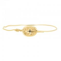 Bracelet Jonc Doré - Jonc fin & Médaille ovale Eclat