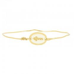Lovely Day Bijoux - Bracelet Jonc Doré - Jonc fin & Médaille ovale Foi