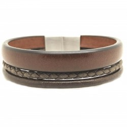 Bracelet jonc large homme - Multi-rangs cuir marron & boucle métal - Loop and Co
