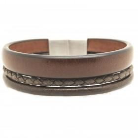 Bracelet jonc large homme - Multi-rangs cuir marron & boucle métal - Loop and Co