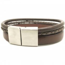 Bracelet jonc large homme - Multi-rangs cuir marron & boucle métal