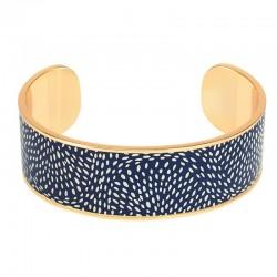 Bracelet jonc manchette Bangle laiton doré d'émail bleu & blanc