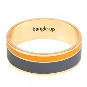 Bracelet BANGLE UP - jonc manchette Vaporetto doré d'émail gris & safran