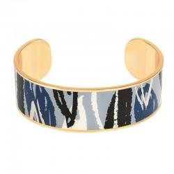 Bracelet jonc manchette BANGLE UP Flore laiton doré d'émail bleu noir & blanc