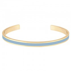 Bracelet BANGLE UP - jonc fin ouvert Bangle Bao en laiton doré d'émail bleu ciel