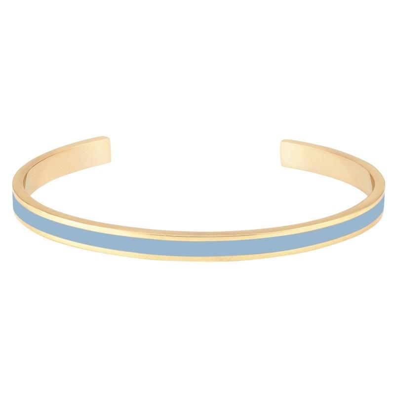 Bracelet jonc fin ouvert Bangle Bao en laiton doré d'émail bleu ciel