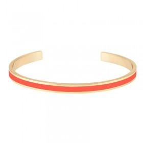 Bracelet jonc fin ouvert Bangle Bao en laiton doré d'émail Tangerine
