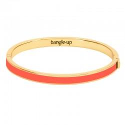 Bracelet jonc fin Bangle fermé laiton doré émail Paprika