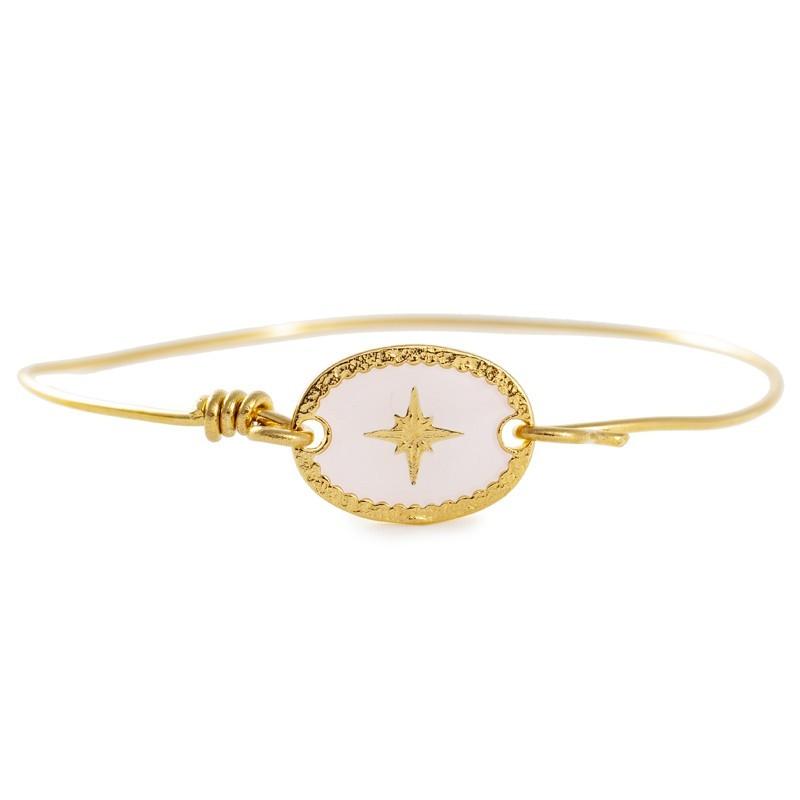 Bracelet Jonc fil Doré - Médaille ovale émaillée blanc Etincelle