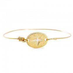 Bracelet Jonc fil Doré - Médaille ovale Etincelle blanc