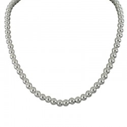 Collier Canyon - Collier court en Argent stylisé de Billes rondes lisses - 6 mm
