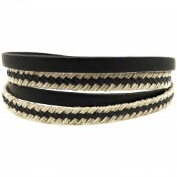 Bracelet jonc multi tours Clic Nautic - Corde & cuir noir