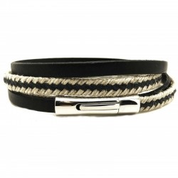 Bracelet jonc multi tours Clic Nautic - Corde & cuir noir - Loop and Co