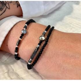 Bracelet multi-tours élastiqué - Onyx noirs & Perles Argent