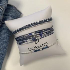 Bracelet multi tours Heaven argent - Perles bleues